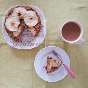 Sticky date and bramley apple cake