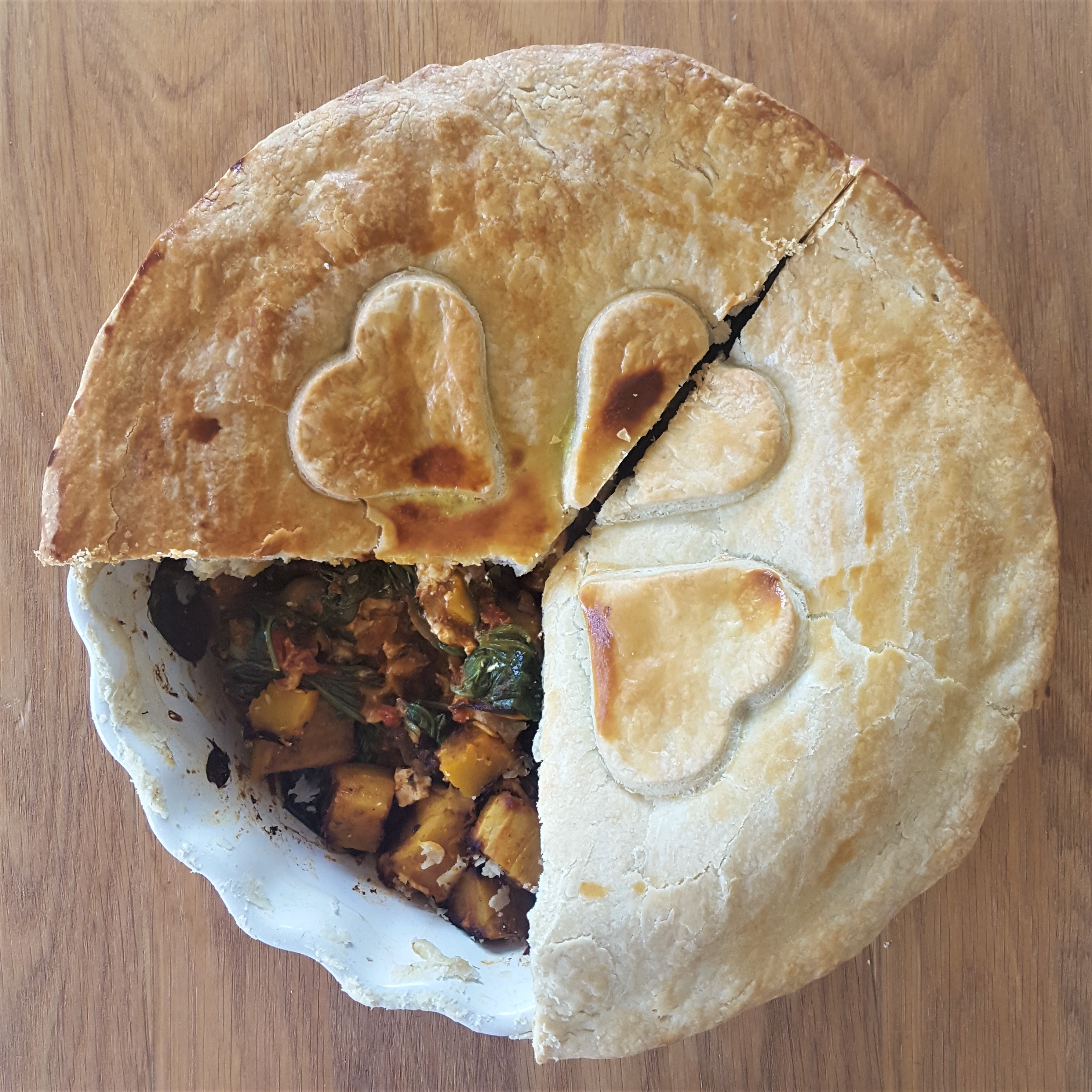 Butternut squash, spinach and feta pie