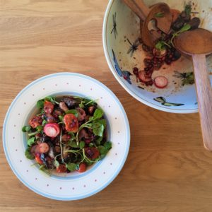 Middle Eastern-inspired Aubergine, Cherry Tomato and Chestnut Watercress bowl