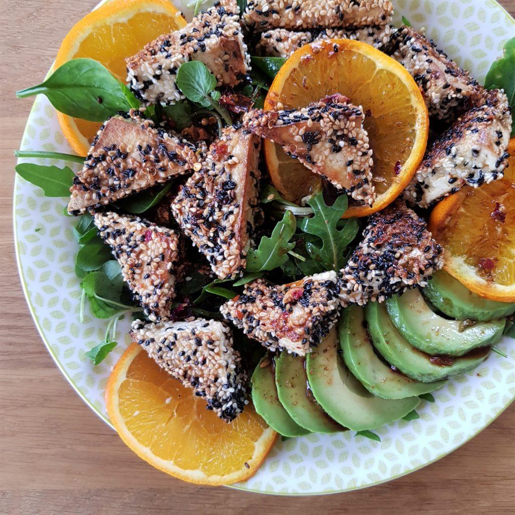 Sesame tofu with orangey-soy dressing